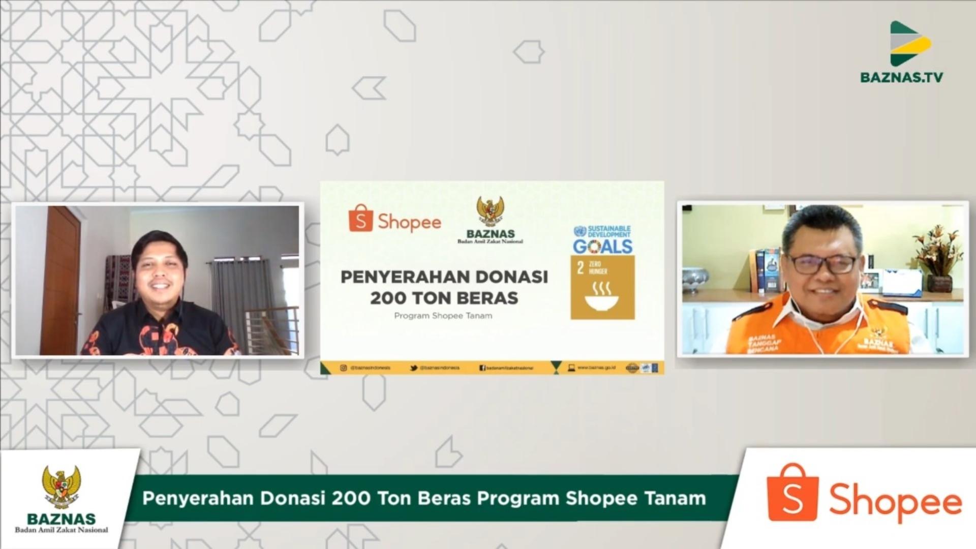 BAZNAS dan Shopee Kumpulkan Donasi Mencapai 200 Ton Beras