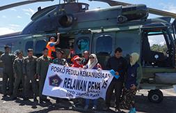 Salurkan Bantuan dengan Helikopter