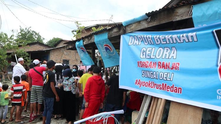 Banjir Parah Kota Medan, Dapur Berkah Gelora Berdiri di 15 Titik Rawan