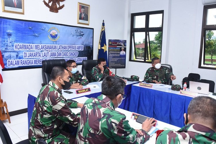 Tactical Floor Game Gladi Posko Latihan Operasi Amfibi 2021 Dilaksanakan di Koarmada 1